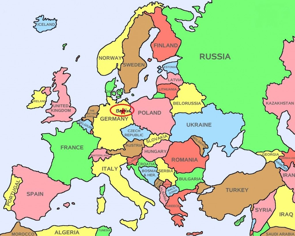 Europe Map with Berlin Germany